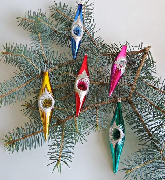Vintage glass dangle indent christmas ornaments