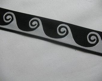 VINTAGE BLACK SILVER Ribbon double face
