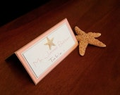 RESERVED LISTING Beige and Coral Beach Starfish Layered Escort Cards/Place Cards