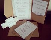 Magnetic Rustic Pocket Fold Wedding Invitation