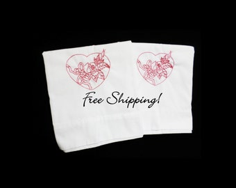 Pillowcases Embroidered Red Hearts and Roses Set of 2 Standard Cases