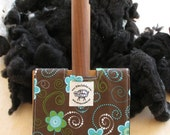 Small Carder Keeper- A Spinners Tool - Blue Flowers