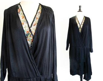 Vintage Black 1920s Dress, 20s Flapper Dress, Black Silk Dress, Art Deco Dress