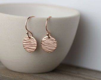 Textured Rose Gold Earrings, Gift for Her, Gift for Women, Rose Gold Filled Jewelry Handmade Burnish