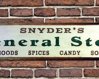 Custom Store Sign with Antique Wood Trim - HandCrafted Vintage Wooden Style Signs