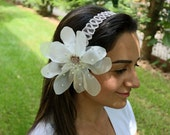 Wedding Headband, Applique Lace, Organza Hair Flower, Pearl Beads and Rose. Handmade. OOAK
