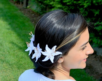 Bridal Hair Pins, White Lace Applique Bridal Flower Hairpiece Hair Flowers, Set of 3 Modern Wedding, Boho Wedding