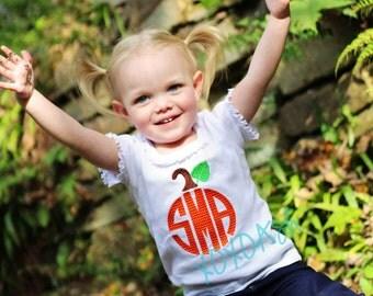 Girls Pumpkin Chevron Monogram Shirt--Fall Thanksgiving--Embroidered shirt or Bodysuit
