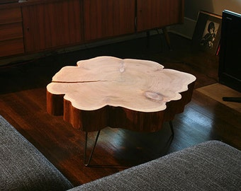 live edge coffee table - urban salvage - nimbus cloud table - natural edge with midcentury modern hairpin legs - flower - cedar flare
