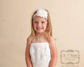 Birdcage Veil  Flower Girl headband, Bridesmaid Headband Baptism Headband   Vintage Christening Headband