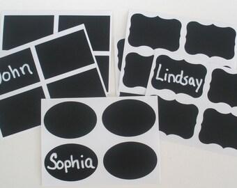 Chalkboard Labels / Rectangle, Oval or Fancy Frame Design / Self Adhesive Vinyl Decals Mason Jar Labels  Adhesive Chalkboard Stickers
