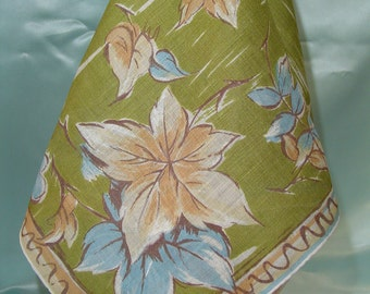 Leaf Assortment, Ladies Hankies, Vintage Colored Leaves Hankie, Collectible Fall Hankie, Large Size Handkerchief, Fall Theme Hankie