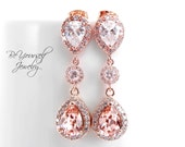 Wedding Earrings Soft Pink Bridal Bridal Earrings Rose Gold Bride Earrings Swarovski Vintage Rose Teardrop Earrings Blush CZ Bridesmaid Gift