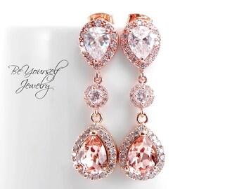 Blush Bridal Earrings Soft Pink Teardrop Bride Earrings Rose Gold Wedding Jewelry Swarovski Crystal Vintage Rose Earrings CZ Bridesmaid Gift