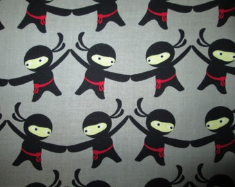 Ninja Karate Marital Arts Grey Cotton Fabric Fat Quarter or Custom Listing