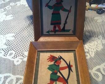 Vintage Robert Darr Wert Country Print  Linen  Wood Framed Early American Style Native Art Pair Set of 2