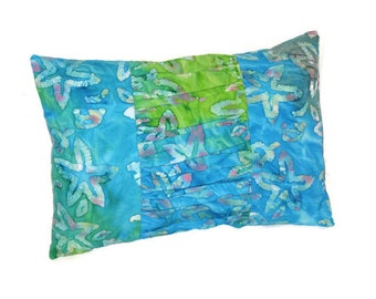 Blue Green Turquoise Batik Starfish Pillow Tropical Beach Cottage