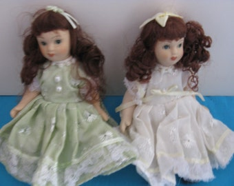 Porcelain Dolls Jointed Set of 2 Brunette
