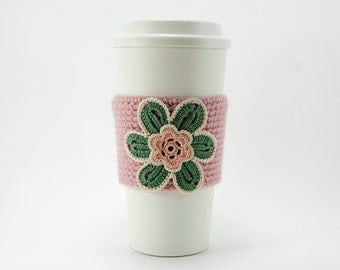 Coffee Cozy, Cup Cozy, Crocheted, Flower applique, Sleeve, Hot Cold Drink, Evergreen flower, peach center, trimmed in cream, rose sleeve