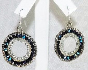Handcrafted Dangle Earrings - Your choice of purple or blue and silver - Round handbeaded earrings - blue earrings -  purple earrings