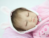 Hand made Reborn Baby Dolls Sleeping Lifelike Rooted Mohair Silicone 16 inch Vinyl Baby Doll