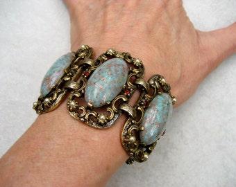 Vintage Selro Bracelet Blue Lucite Confetti Cabochon Faux Pearls Rhinestones