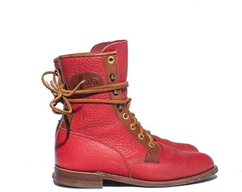 5 B | Women's Justin Roper in Red Pebbled Leather with Brown Trim