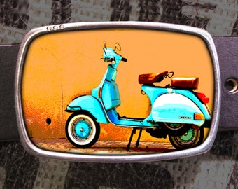 Scooter Belt Buckle, Vintage Inspired, Pop Art 526