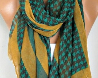 Mustard Black Houndstooth Cotton Scarf, Shawl,Summer Scarf, Cowl, Wrap Gift Ideas For Her, Women Fashion Accessories, Christmas Gift Scarves