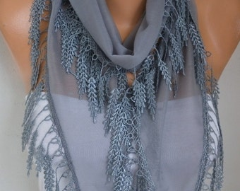 Gray Cotton Scarf,Summer Scarf,Bridal Scarf,Necklace Shawl Cowl Bridesmaid Gift Gift Ideas For Her Women Fashion Accessories Women Scarves