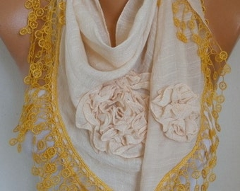 Cream & Yellow Cotton Floral Scarf, Summer,Cowl Lace Shawl Bridesmaid Gift, Bridal Accessories Gift Ideas For Her Women Fashion Accessories
