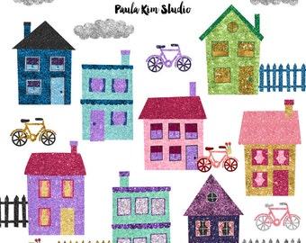 Glitter Neighborhood Clip Art, Glitter Clipart House Graphics, Instant Digital Download