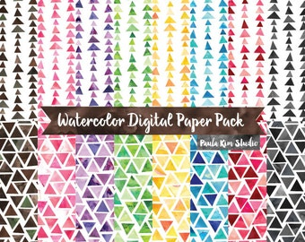 Triangle Geometric Digital Paper Pack, Commercial Use Digital Paper, Instant Digital Download Backgound Digital Papers