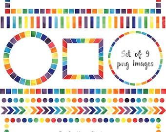 Watercolor Rainbow Borders, Rainbow Frame Clip Art Set, Instant Download Clipart