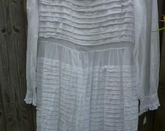 Edwardian  childs pleated fine lawn dress