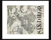 San Diego Street Map Vintage Print Poster Title Map Gray Grunge