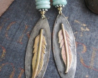 Feather earrings - Free Bird - blue green semi precious stone rustic long dangle southwestern earrings beach boho by slashKnots