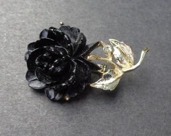 Black Rose Brooch Pin Gold Tone Setting
