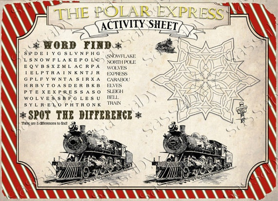 Polar Express Activity Sheets Instant Download Printable