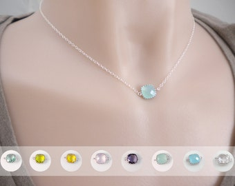 Birthstone necklace, cushion cut glass connector on sterling silver chain, layering necklace