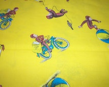 Curious George Fabric kite Flying Yellow Background By The Fat Quarter BTFQ New