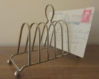 Vintage silver letter holder.  Mail organization.  Desk accessory.  Repurposed toast holder.