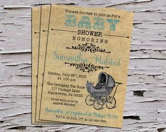 Vintage Baby Shower Invitation Boy or Girl - Vintage Stroller - DIY File - Blue or Pink - 5x7 inches