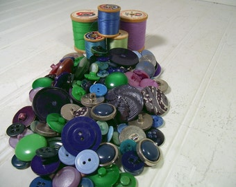 Vintage Variety of Shades of Blues, Greens & Purples Buttons Collection - 127 Buttons for Repurposing Upscaling Upcycling Crafts Projects