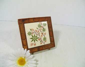 Vintage Ceramic Floral Mexican Tile Framed in Carved Wooden Raised Trivet - Retro Hand Detailed Decorative Pottery Hot Pad Made in Mexico