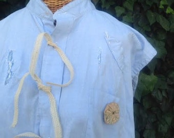 work wearTexas boho gypsy magnolia blue pearl tattered linen funky gypsy prairie chambray light blue linen ecru shabby farm rustic shirt