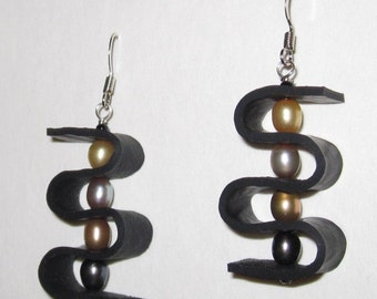 Upcycled Recycled Jewelry / Earrings / Inner Tube / Black Rubber / Salvaged White and Beige Carved Beads