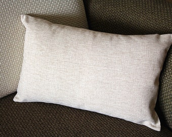 "Designer Linen Pillow - beige Pure plain Pillow Cover -lumbar Pillow - 12"" x 20"" Decorative Cushion Cover Throw Pillow cover  151"