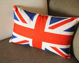"""Linen Pillow - red white blue union jack geometrical Pillow Cover -  lumbar Pillow - printing Throw Pillow  Cushion Covers- 12"""" x 20"""" 249"""