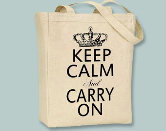 Keep Calm and Carry On, Vintage Crown Canvas Tote  - Selection of sizes ANY IMAGE COLOR available